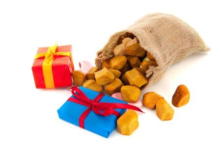 Bag Dutch Sinterklaas presents and pepernoten Stock Photo - 15935223