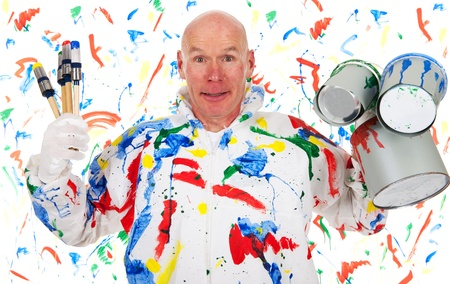 screwing: painter is screwing up the mess with brushes and tins Stock Photo