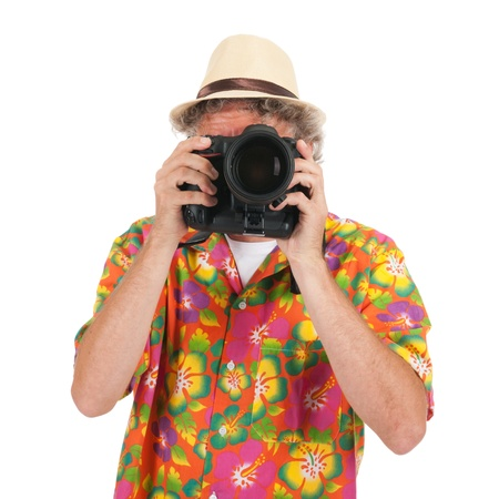 telezoom: Typical tourist is taking pictures with big camera Stock Photo