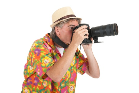 telezoom: Typical tourist with big camera taking pictures