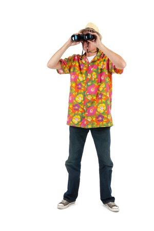 full strenght: tourist with colorful shirt and binocular