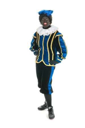 full strenght: Dutch character as black pete for typical Sinterklaas holidays in portrait Stock Photo