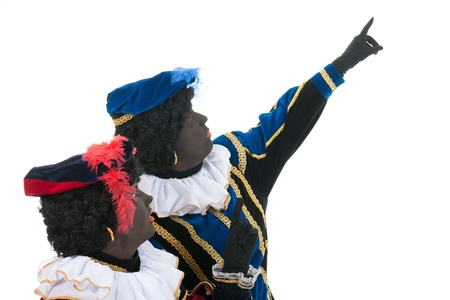 Dutch characters as black petes for typical Sinterklaas holidays are pointing up Stock Photo - 15994953