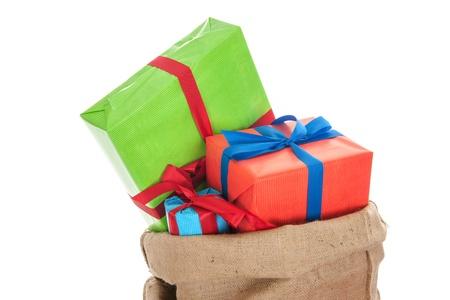 Jute bag Sinterklaas presents on white background Stock Photo - 16097105