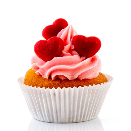 st  valentine       day: Love cupcakes with red hearts and butter cream