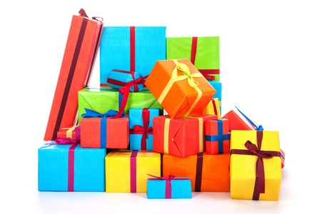 many colorful presents with luxury ribbons isolated over white background