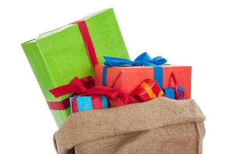 Jute bag Sinterklaas presents on white background Stock Photo - 16097122
