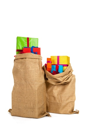 Jute bag Sinterklaas presents on white background Stock Photo - 16097121