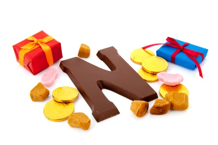 Dutch Sinterklaas candy with presents and pepernoten Stock Photo - 16096839