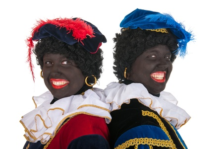 Dutch black petes for typical Sinterklaas holidays in portrait photo