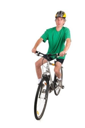 Man on mountain bike in studio photo