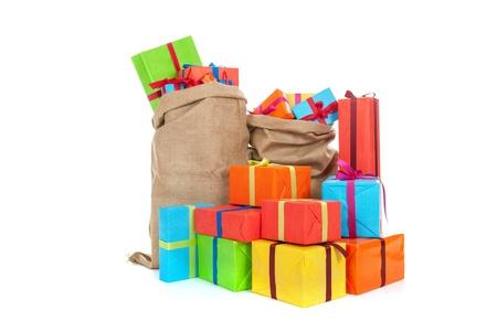 Jute bags Sinterklaas presents on white background Stock Photo - 16381108
