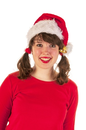 Winter girl with red sweater and hat of Santa Claus Stock Photo - 16472742