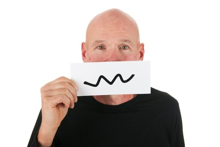 Concept scary man with smiley card isolated over white background