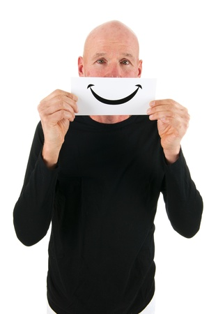 isolated over white: Concept happy man with smiley card isolated over white background Stock Photo