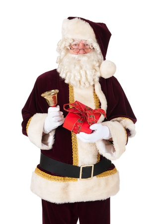 bow belly: The real Santa Claus with present and bell Stock Photo
