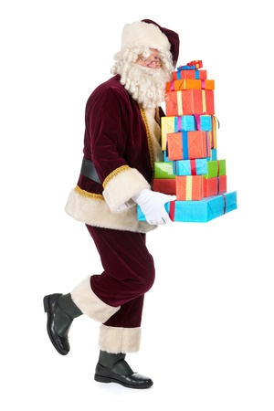 sidewards: Portrait of Santa Claus with presents Stock Photo