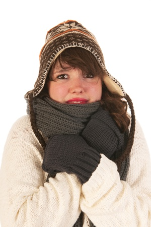 cold woman: Winter girl with wool sweater ice cap and gloves
