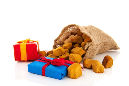 Bag Dutch Sinterklaas presents and pepernoten Stock Photo - 16677565
