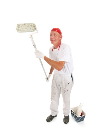 Painter painting the wall with a big roller Stock Photo - 16662405