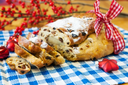 christmas paste: Currant bread for christmas with almond paste Stock Photo