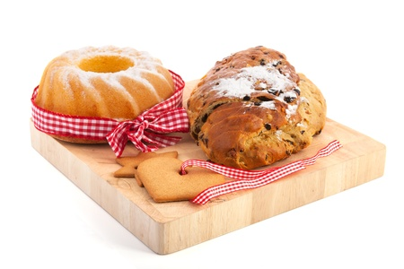 christmas paste: Christmas turban and currant bread with almond paste Stock Photo