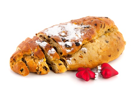 christmas paste: currant bread with almond paste and sugar for Christmas