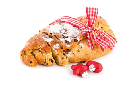 christmas paste: Currant bread for christmas with almond paste and sugar