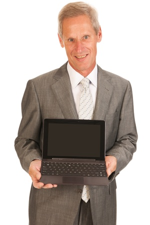 Senior business man with digital tablet isolated over white background Stock Photo - 17156642
