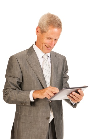 senior business: Senior business man with digital tablet isolated over white background