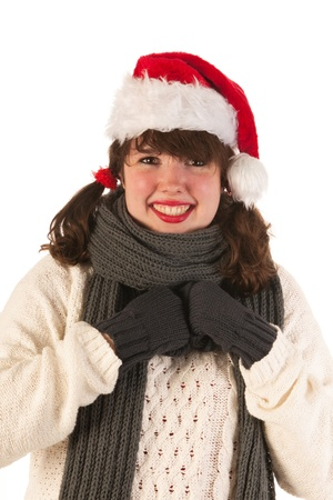 Winter girl with wool sweaterand hat of Santa Claus Stock Photo - 17156649