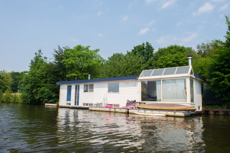 eem: White houseboat at the Dutch river