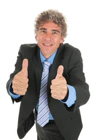 Business man standing in the studiowith both thumbs up Stock Photo - 17573219
