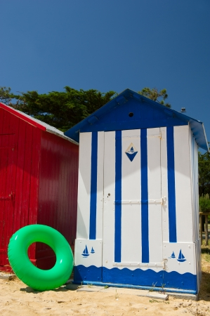 Colorful beach huts on the beach at Saint-Denis island dOleron in France