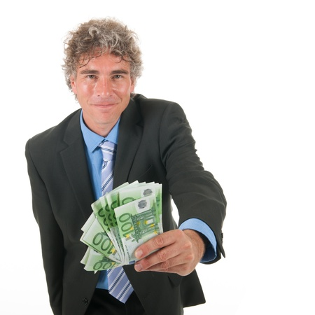 Handsome business man with Euro banknotes photo