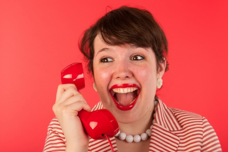 Young woman is having good news on the phone Stock Photo - 17793700