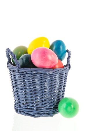 Colorful easter eggs in basket isolated over white background photo