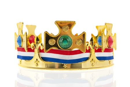 Dutch golden crown with flag colors for the king isolated over white background Stock Photo - 17987224