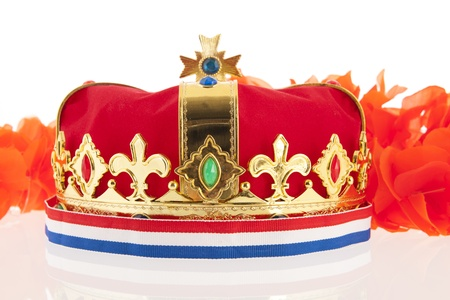 Golden crown with Dutch colors as orange, red white and blue Stock Photo - 17987313