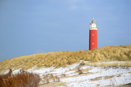 wadden: Winter at the coast from Dutch wadden island Texel with lighthouse