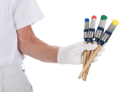 Painter with colorful paint brushes photo