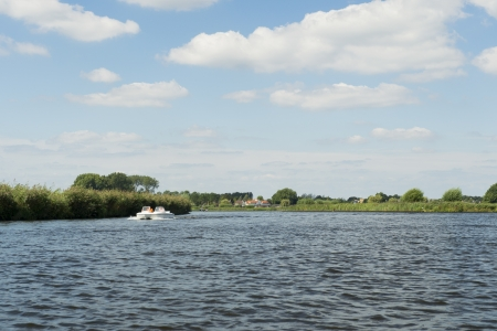 River the Eem with boats in Holland Stock Photo