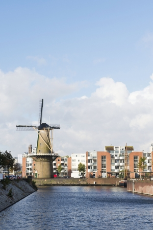 Historic windmill De Distilleerketel at Delfshaven Dutch Rotterdam Stock Photo - 18203406
