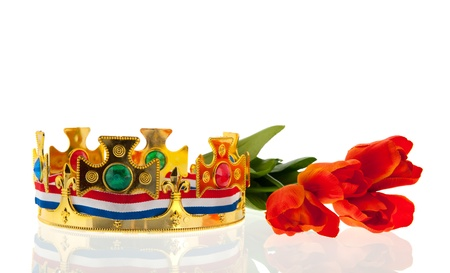 Dutch golden crown with flag colors and tulips for the king isolated over white background Stock Photo - 18501912