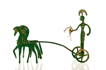 Greek war chariot with horses isolated over white background Stock Photo - 18501879