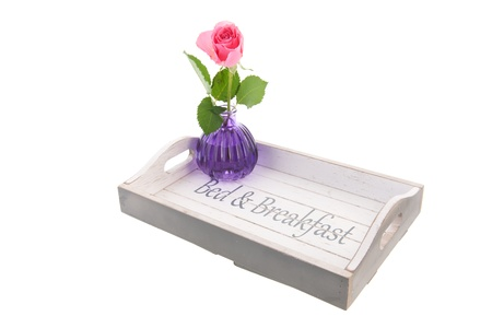 Wooden tray for bed and breakfast with pink rose Stock Photo - 18821027