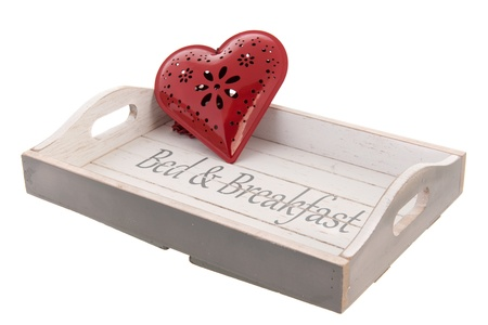 Wooden tray for bed and breakfast with red heart Stock Photo - 18821087