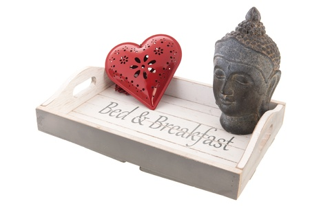 Wooden tray for bed and breakfast with pink rose Stock Photo - 18821107