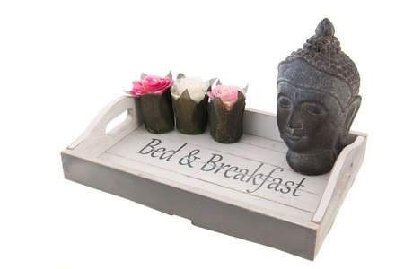 Wooden tray for bed and breakfast with pink rose Stock Photo - 18821207