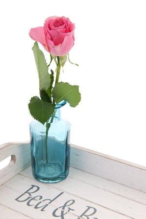 Wooden tray for bed and breakfast with pink rose Stock Photo - 18821076